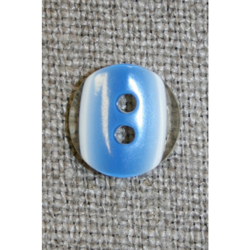 2-huls knap klar/blå, 13 mm.-31