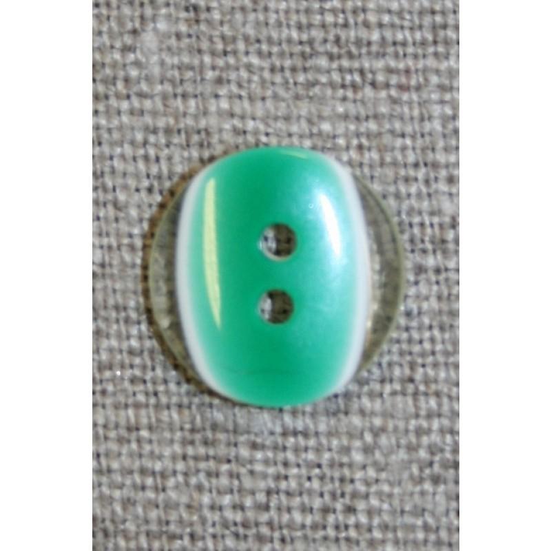 2-huls knap klar/græsgrøn, 13 mm.