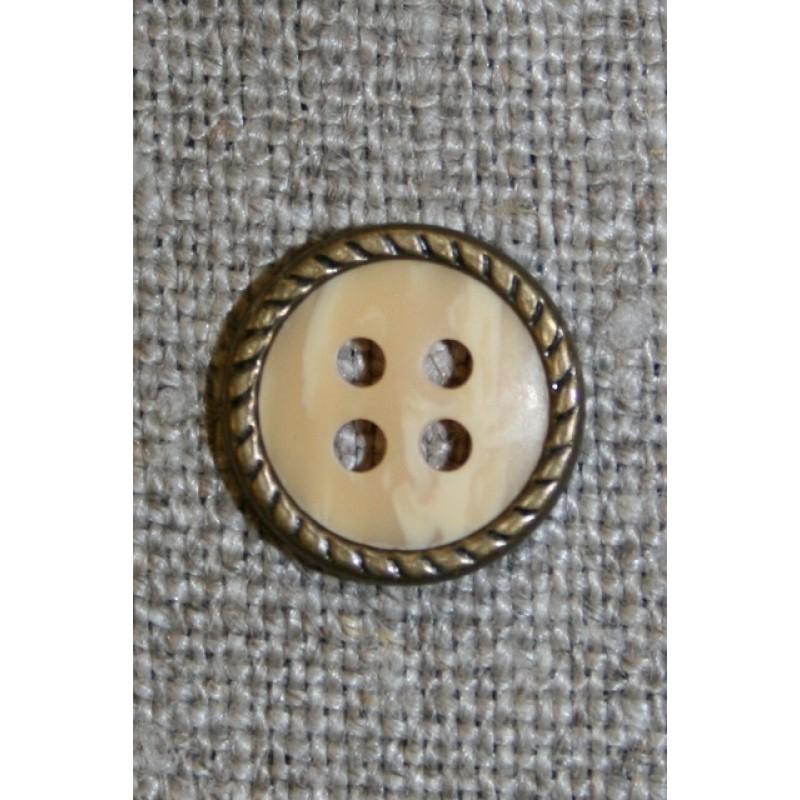 Creme 4-huls knap m/gl.guld kant-31