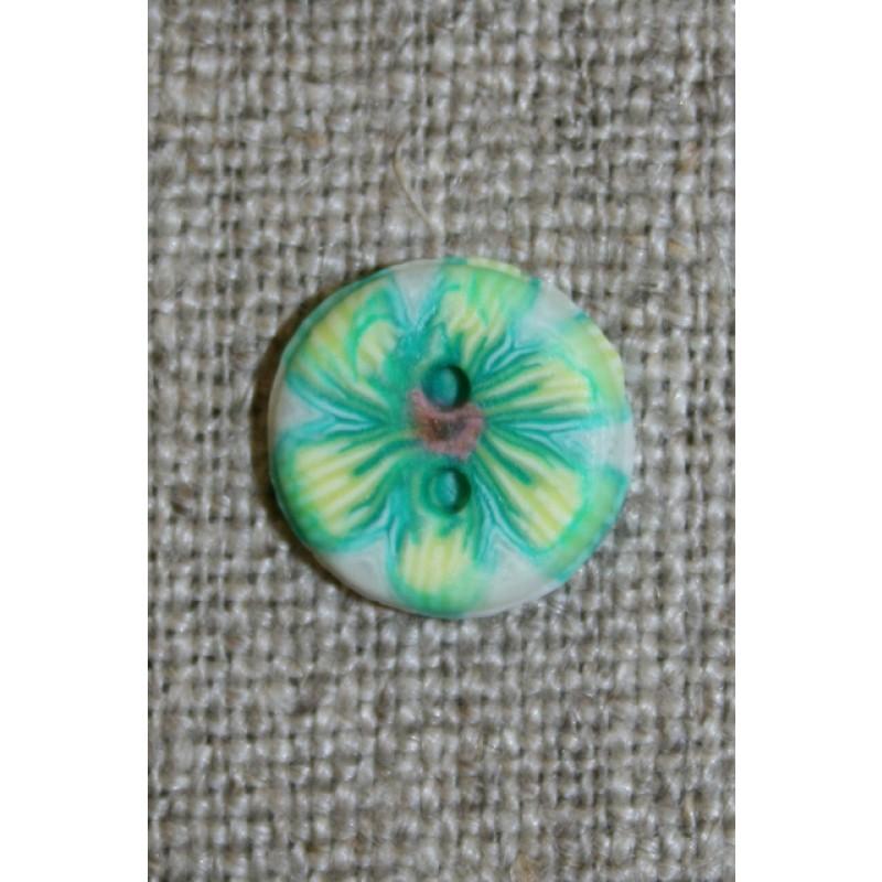 2-huls knap retro blomst grøn-35