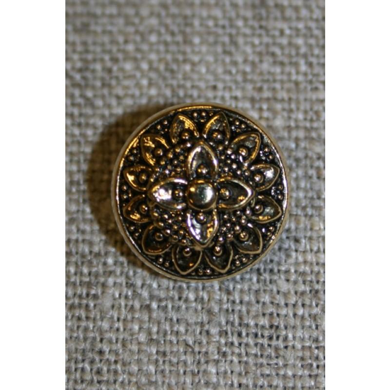 Knap m/blomst, guld/sort, 15 mm.-35