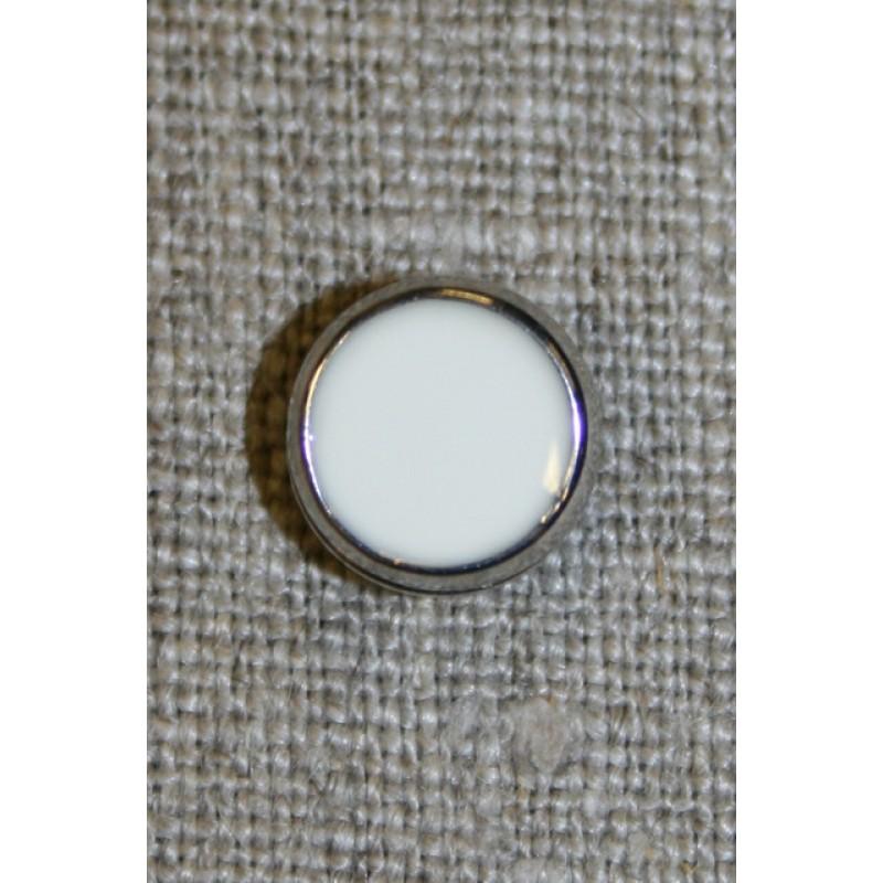 Lille hvid knap m/sølv-kant, 11 mm.-35