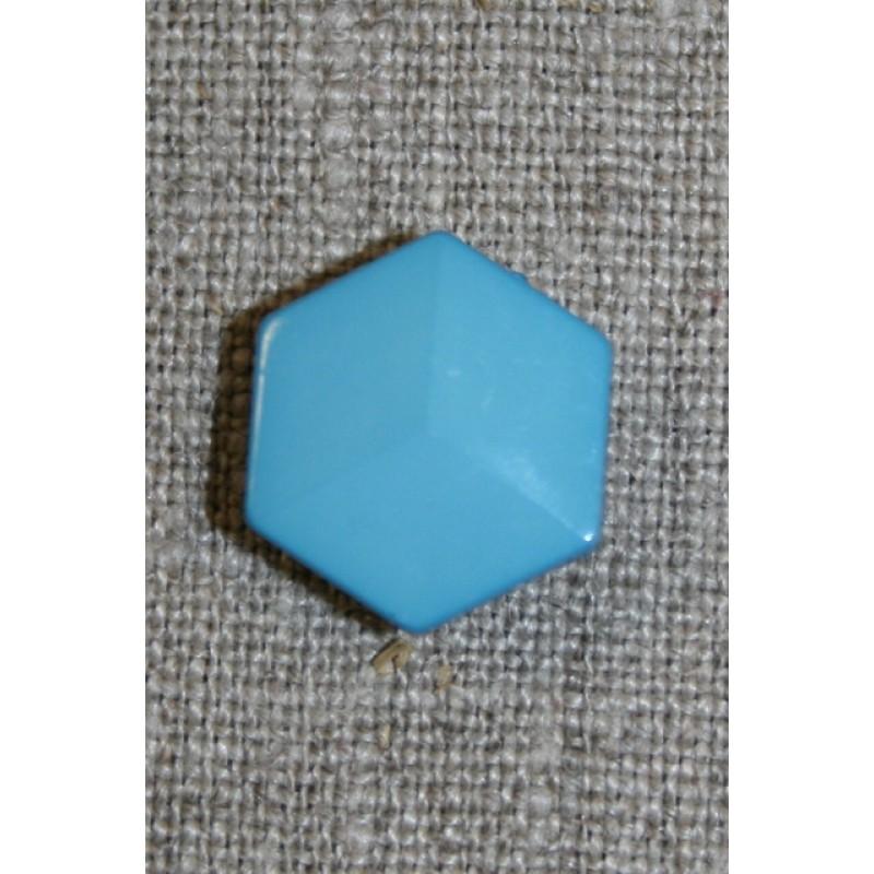 6-kantet knap, turkis-blå