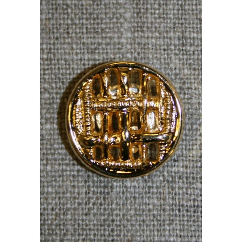 Guld-knap m/flet-mønster-31