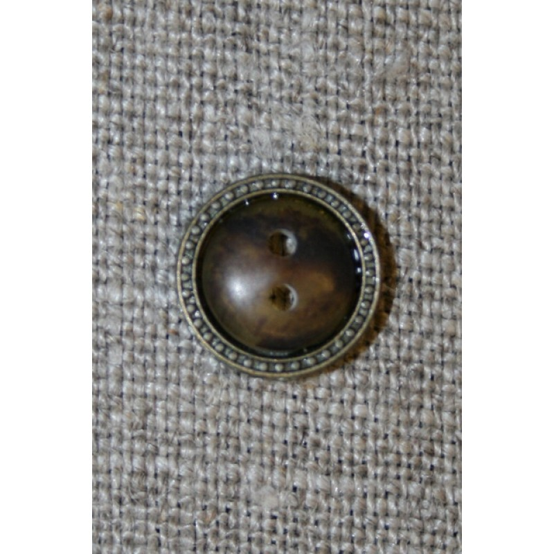 Brun knap m/gl.guld kant, 11 mm.
