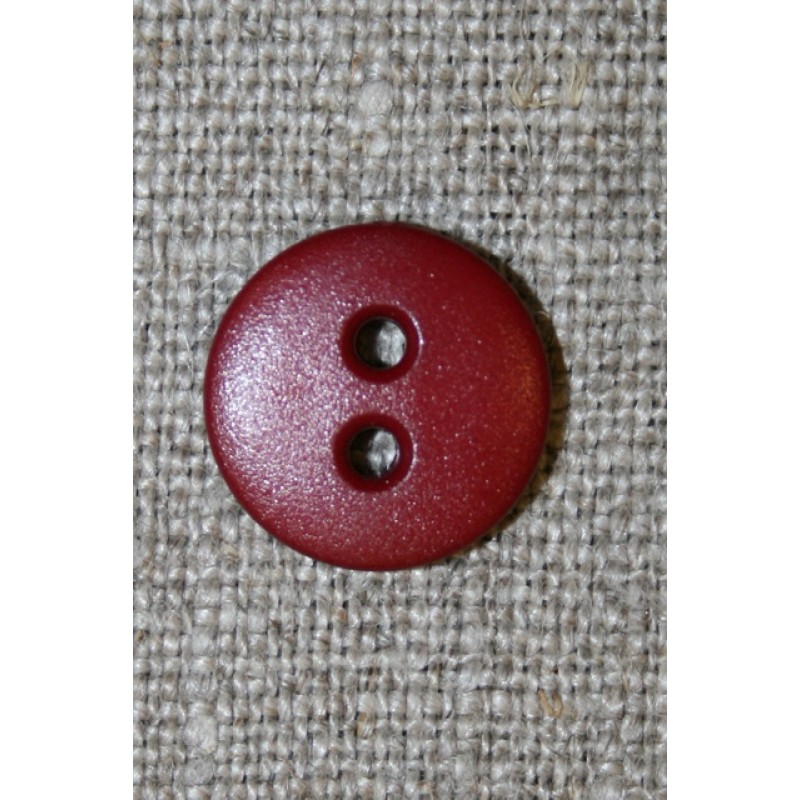 Mørk rød 2-huls knap, 14 mm.-35