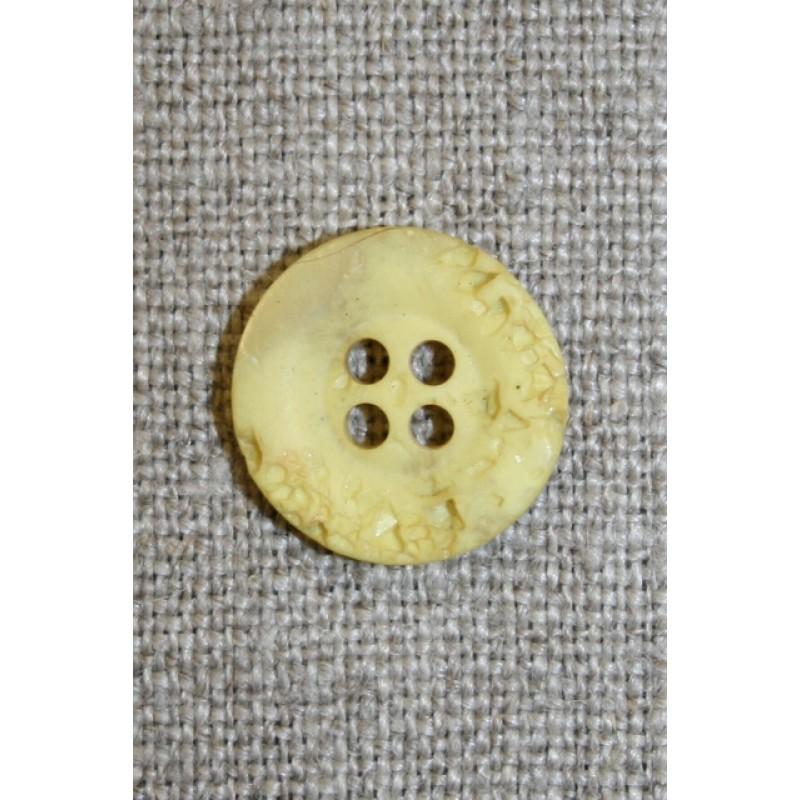 4-huls knap krakeleret lys gul, 15 mm.-35
