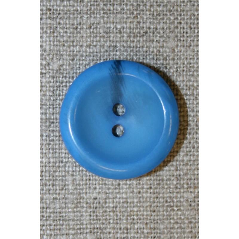 Klar blå 2-huls knap, 22 mm.-35
