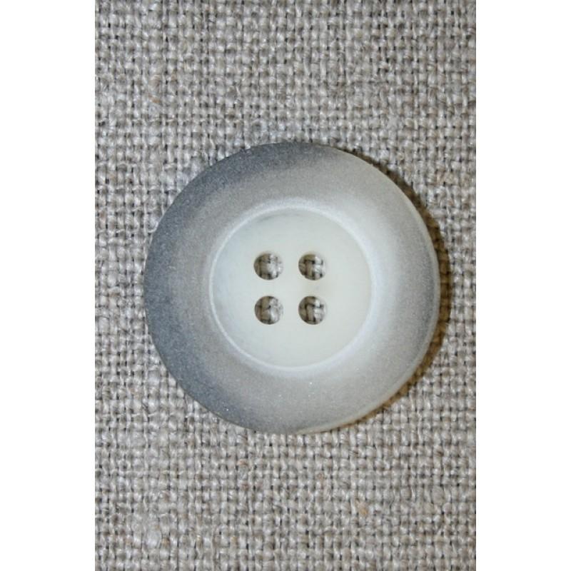 Grå-meleret 4-huls knap, 22 mm.