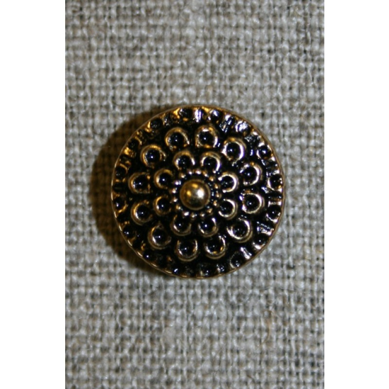 Knap guld/sort m/blomst, 15 mm.-31
