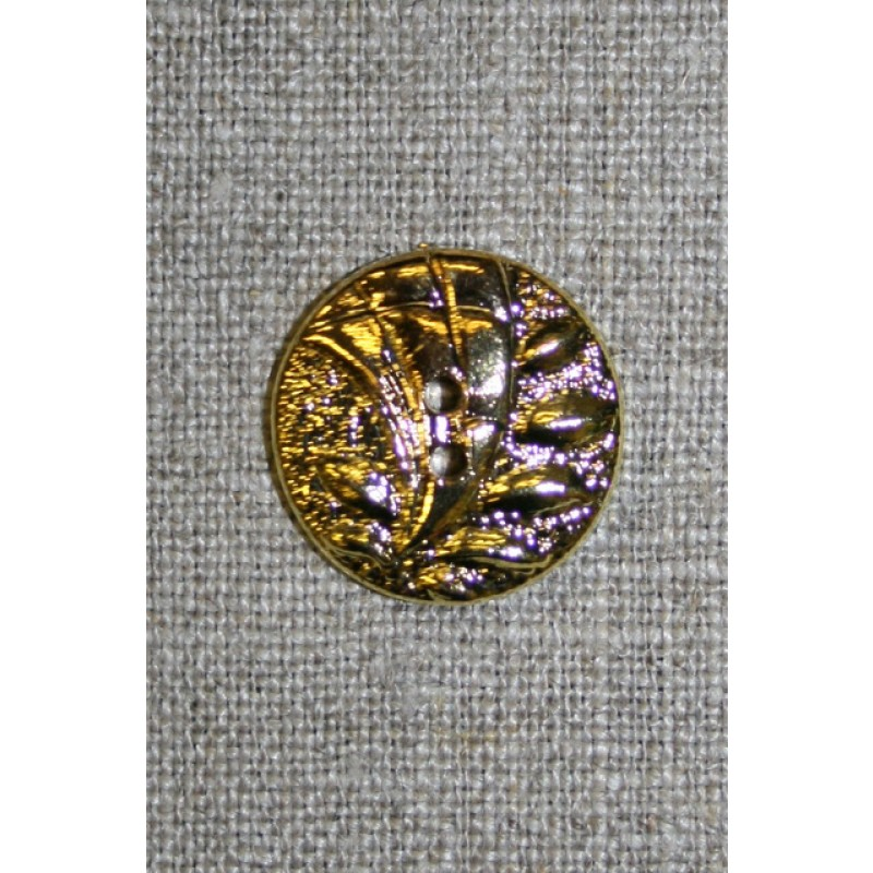 2-huls guld-knap m/bladmønster, 20 mm.