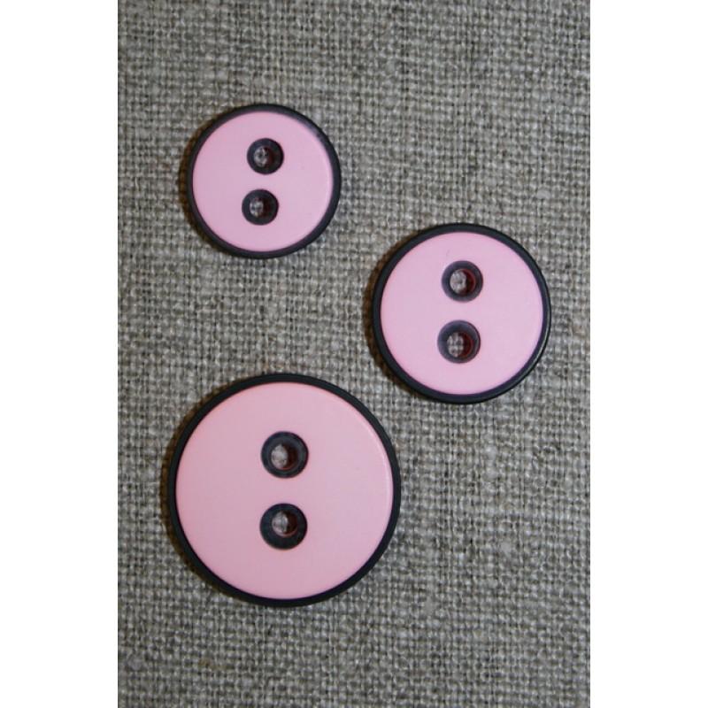 2-huls knap m/sort kant, lyserød, 18 mm.-35