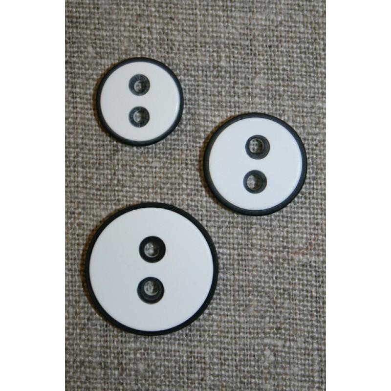 2-huls knap m/sort kant, hvid 15 mm.