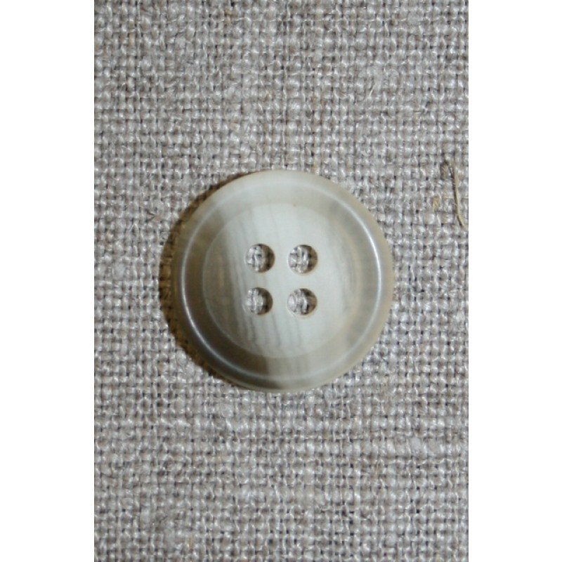 4-huls knap klar/off-white/brun, 18 mm.-35