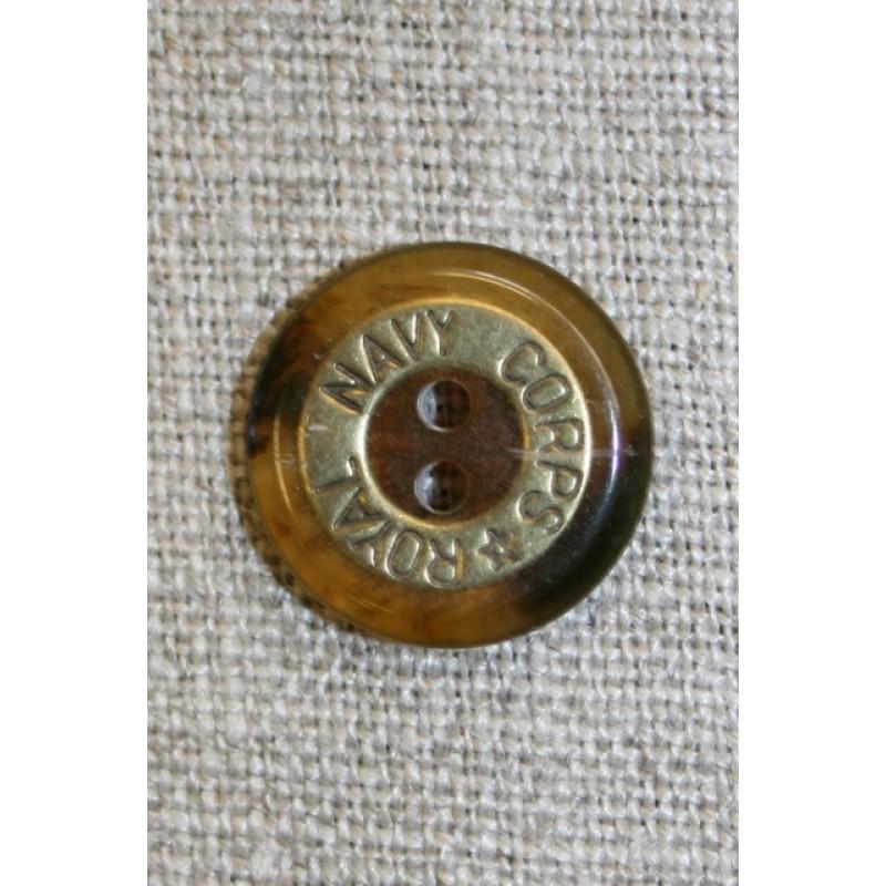 """2-huls knap brun/gl.guld """"Royal Navy Corps"""", 18 mm.-35"""