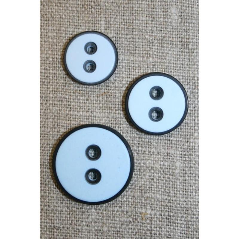 2-huls knap m/sort kant, lyseblå
