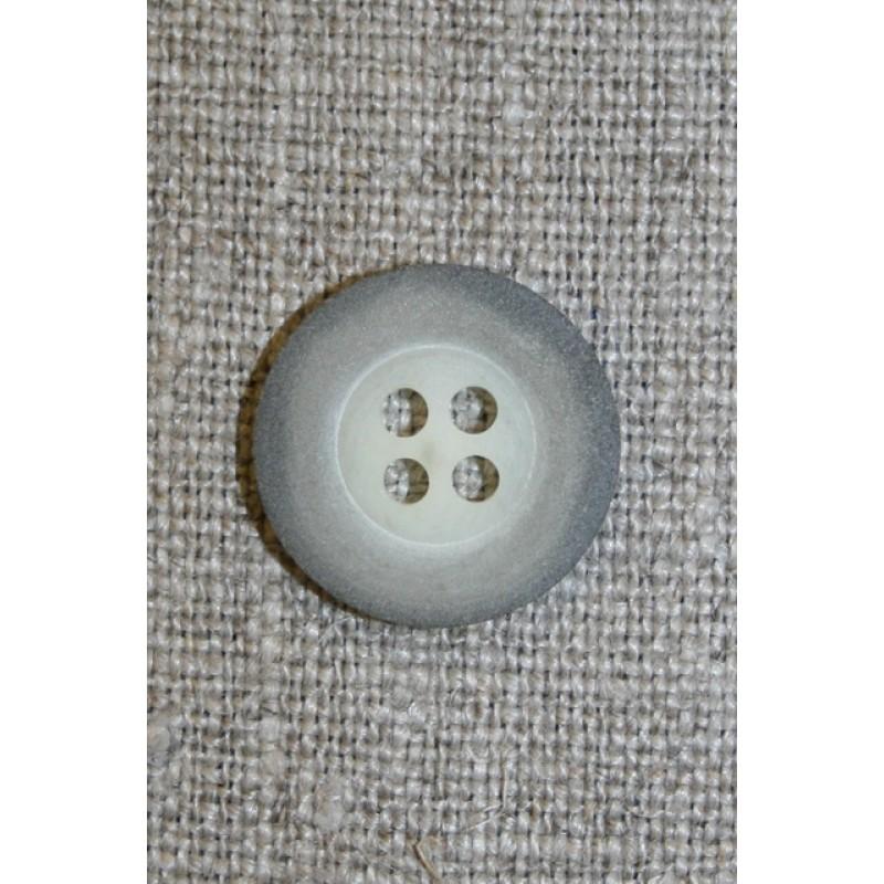 Grå-meleret 4-huls knap, 18 mm.-35