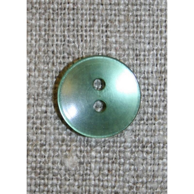 Grøn blank 2-huls knap, 12 mm.