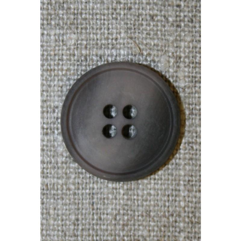 4-huls knap grå-brun meleret, 20 mm.-35