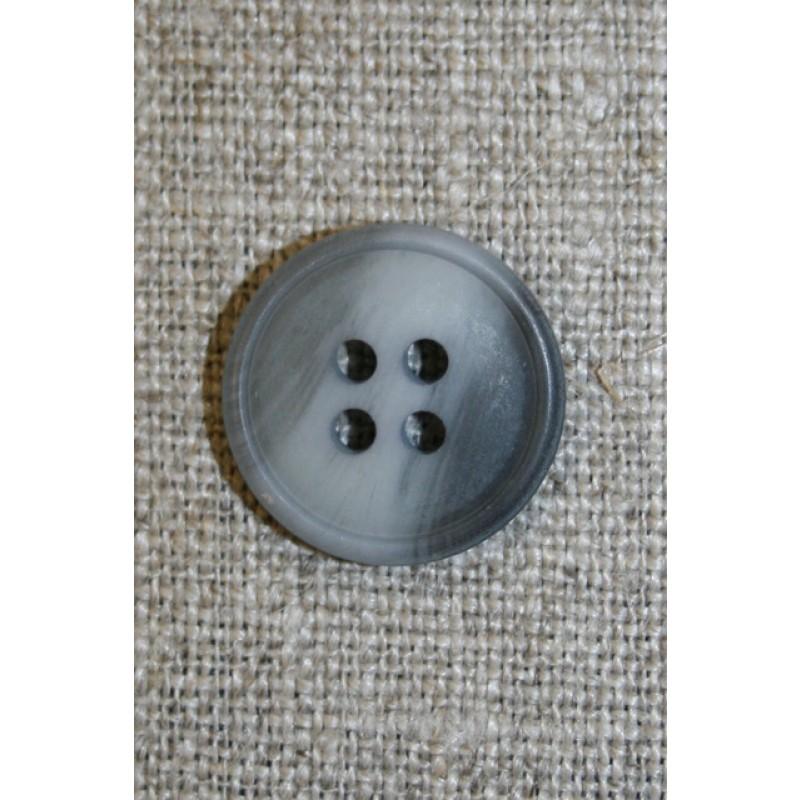4-huls knap lysegrå/grå meleret, 18 mm.-33