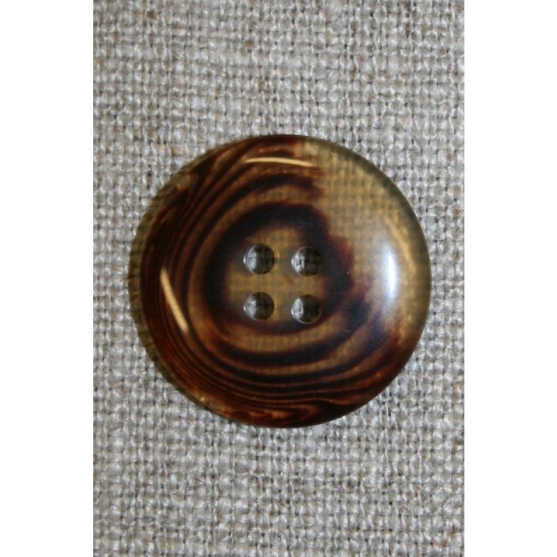 4-huls knap meleret klar/brun