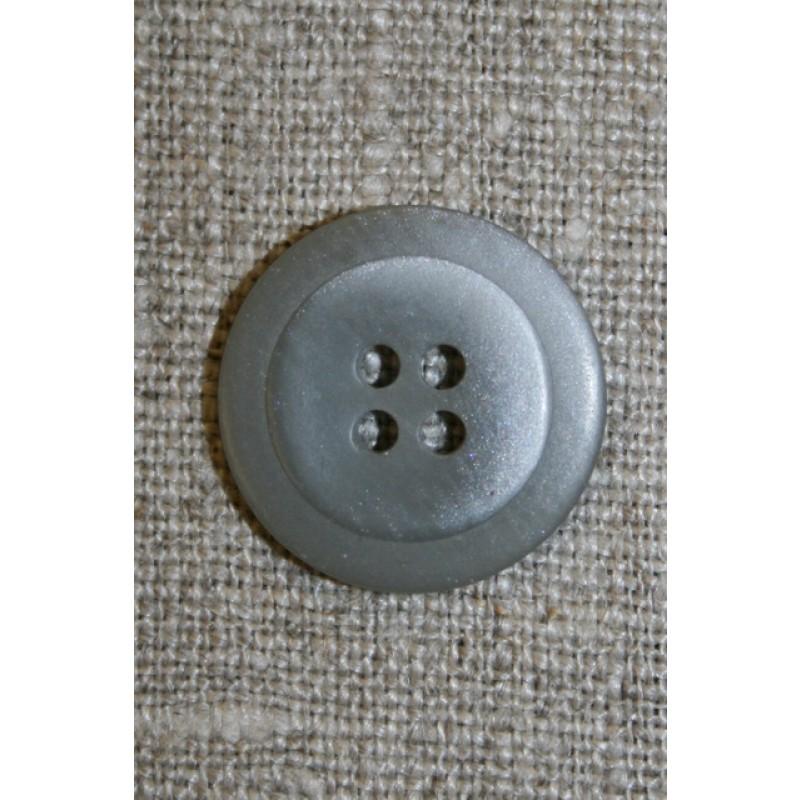 Lysegrå 4-huls knap m/kant, 20 mm.-35