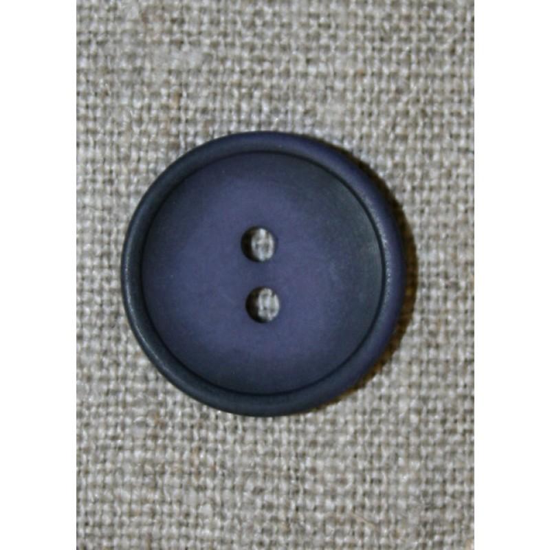 Blå-lilla 2-huls knap, 20 mm.