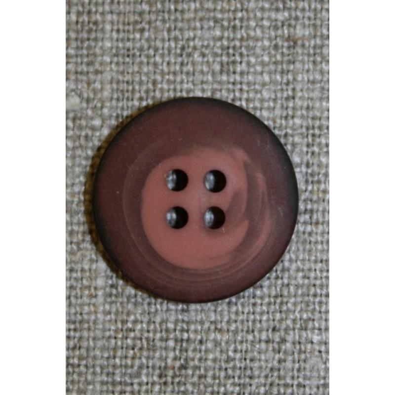 4-huls knap meleret mørk brun-rosa, 20 mm.-35