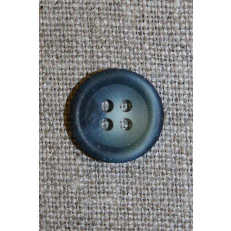 4-huls knap grå-blå meleret, 15 mm.-35