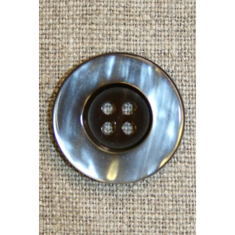 4-huls knap brun/beige, 25 mm.-35