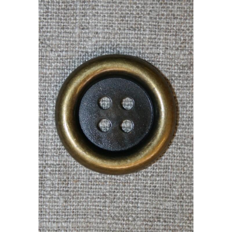 Stor 4-huls knap gl.guld, 30 mm.