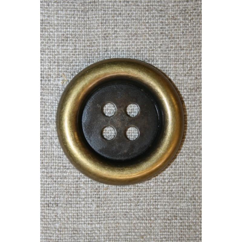 Stor 4-huls knap gl.guld, 38 mm.