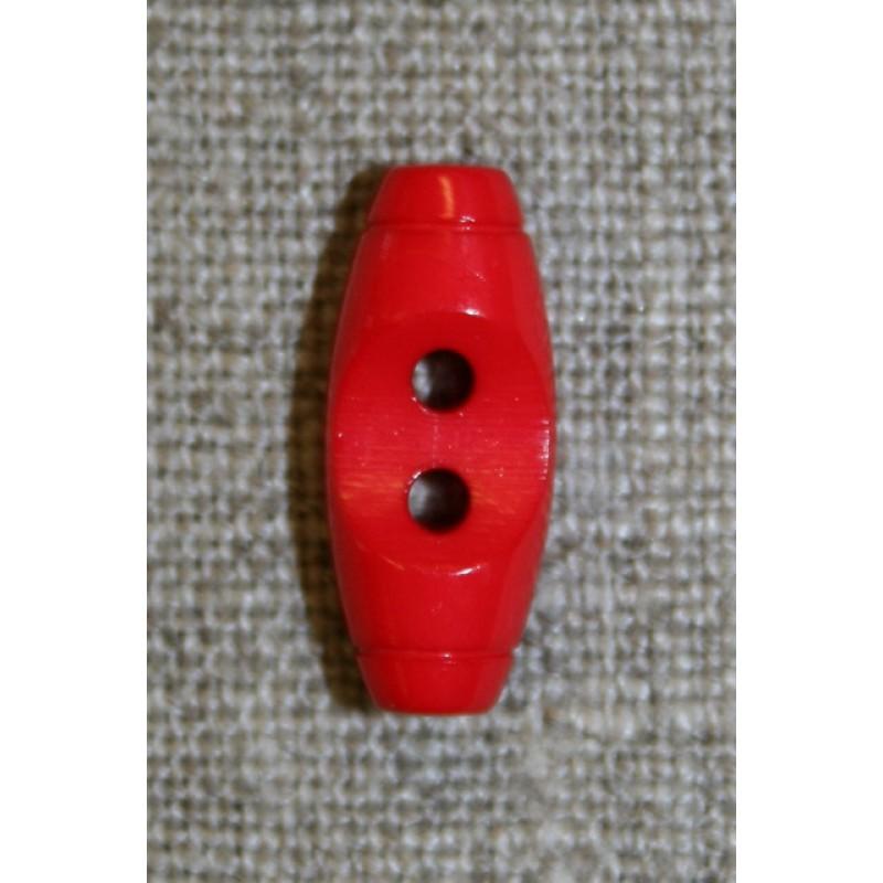 Aflang knap/kneble rød, 20 mm.