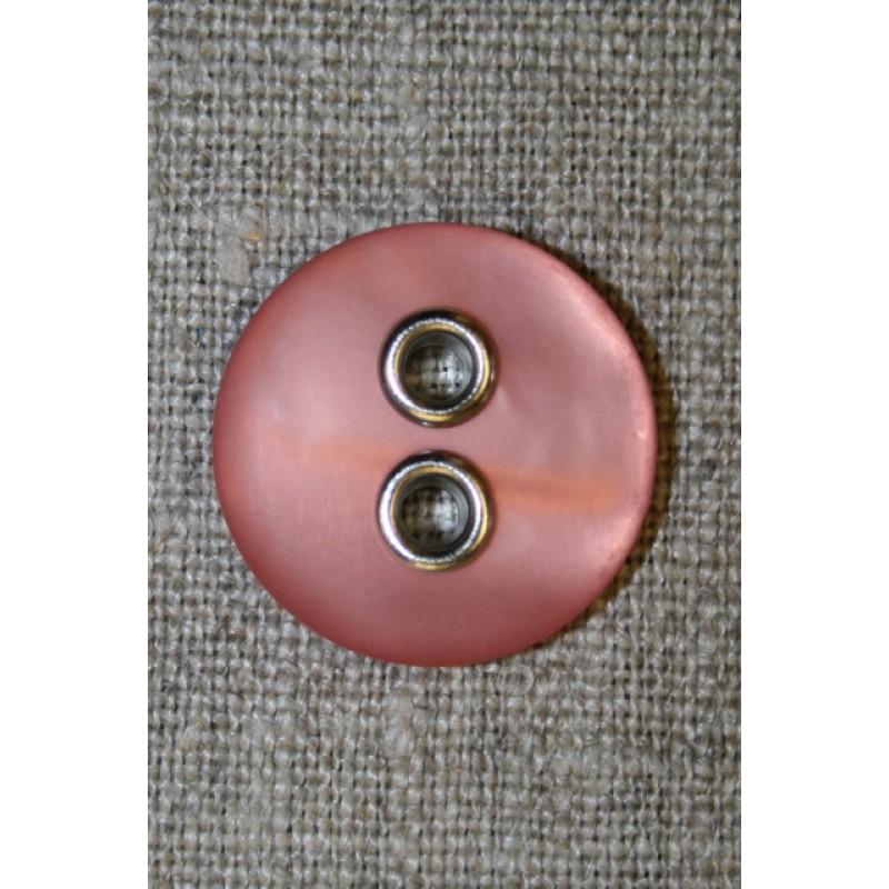 Knap m/sølv-huller, rosa 22 mm.