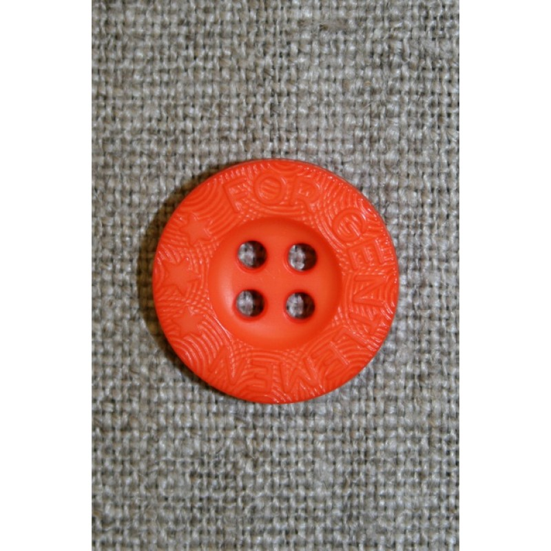 Orange 4-huls knap m/tekst, 18 mm.-35