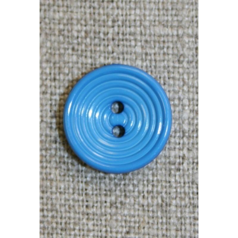 2-huls knap m/cirkler, klar mellem-blå, 15 mm.-35