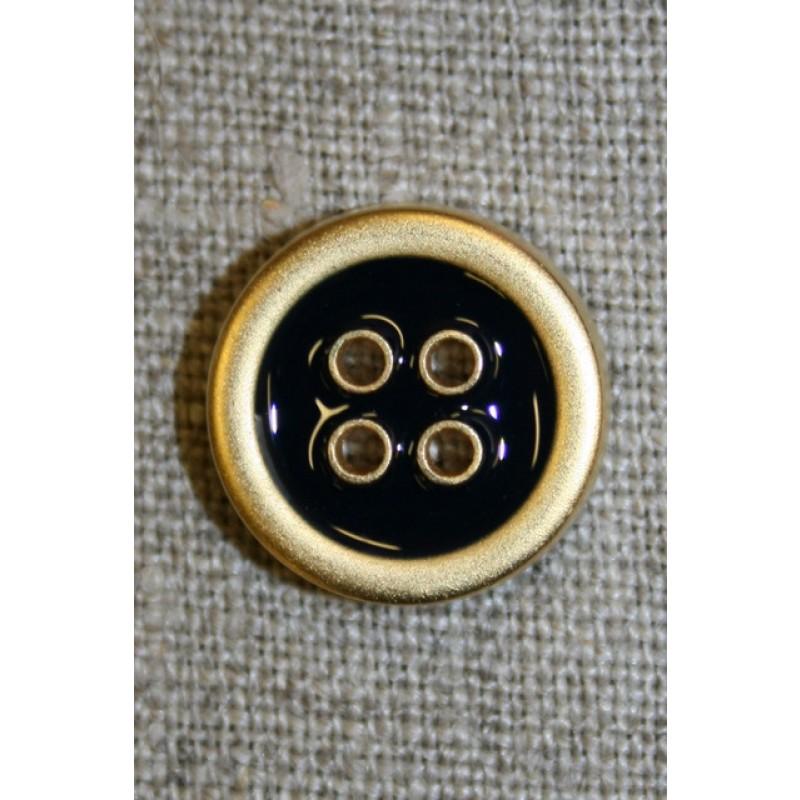 4-huls knap m/guld-kanter, sort 18 mm.-35