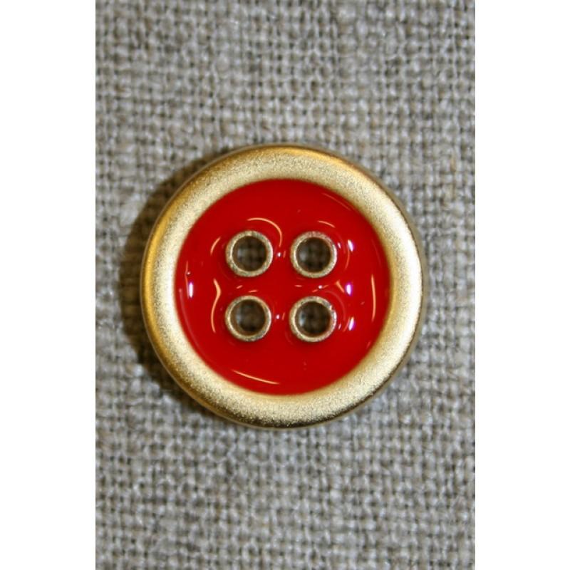 4-huls knap m/guld-kanter, rød 18 mm.-35