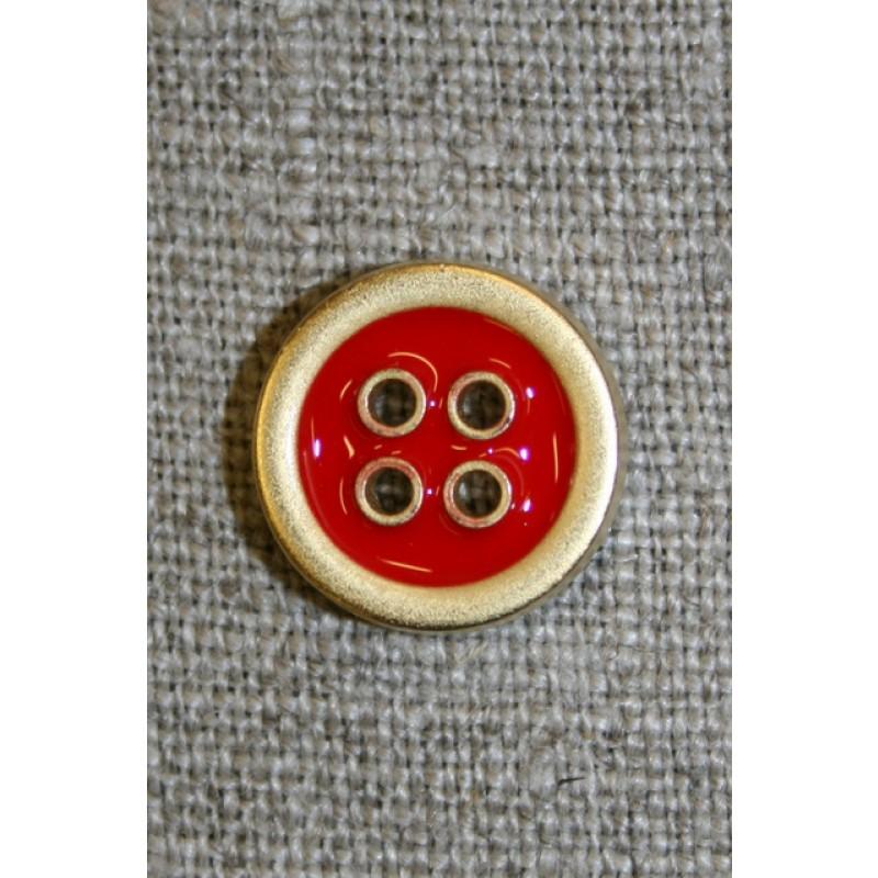 4-huls knap m/guld-kanter, rød 15 mm.