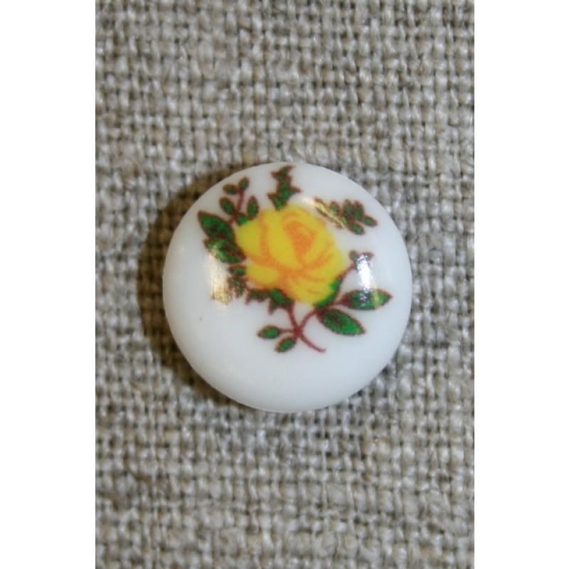Hvid knap m/gul rose, 13 mm.-35