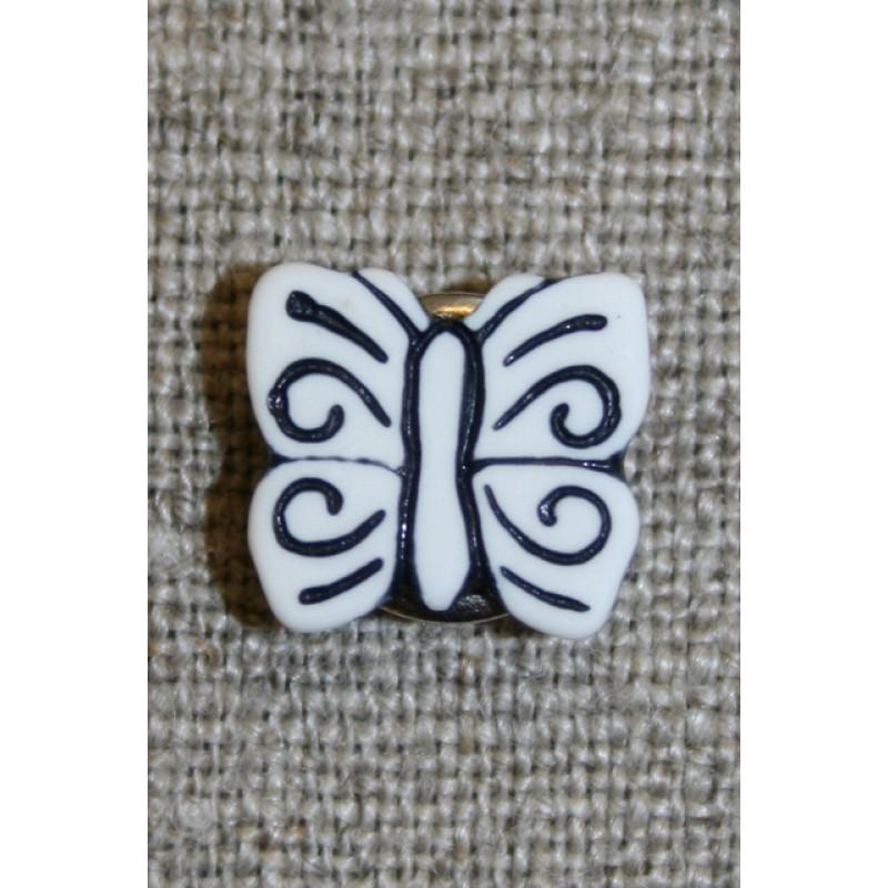 Knap m/sommerfugl, hvid/sort