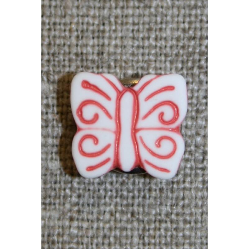 Knap m/sommerfugl, hvid/støvet rød