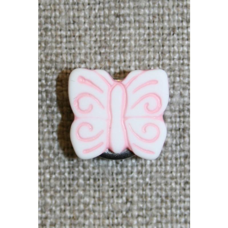 Knap m/sommerfugl, hvid/lyserød-35