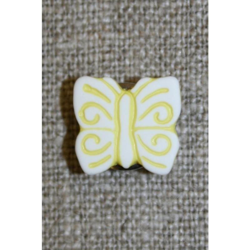 Knap m/sommerfugl, hvid/gul