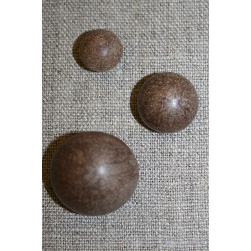 Rund knap i 3 str. brun
