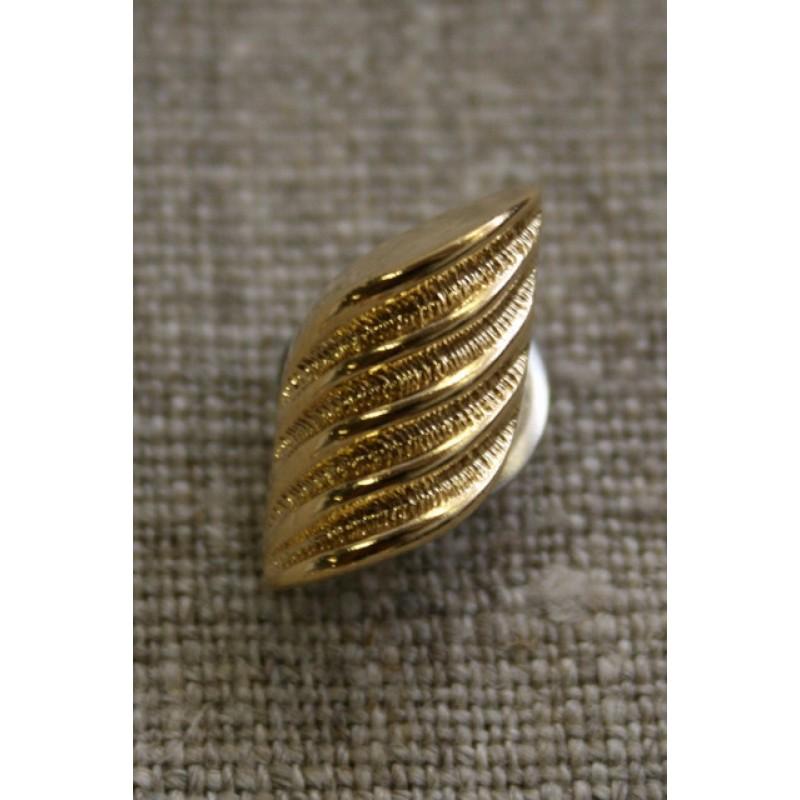 Guld-knap m/riller-35