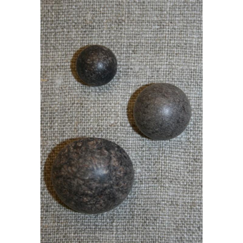 Rund knap i mørkebrun 18 mm.-35