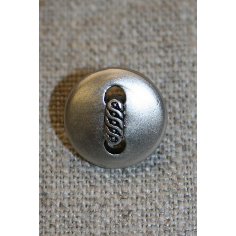 Mat sølv-knap m/aflangt mønster, 15 mm.-31