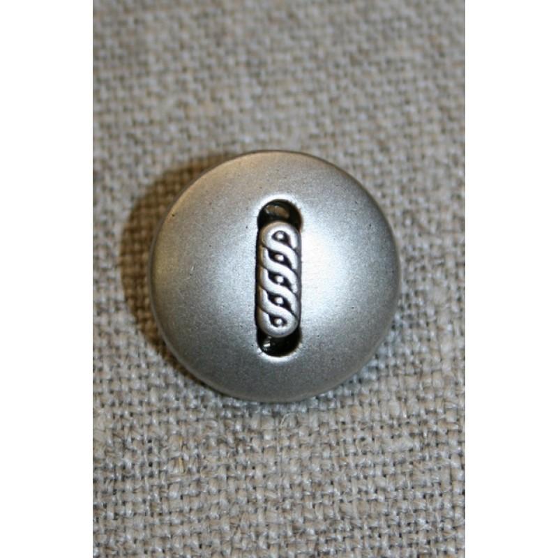 Mat sølv-knap m/aflangt mønster, 18 mm.-31