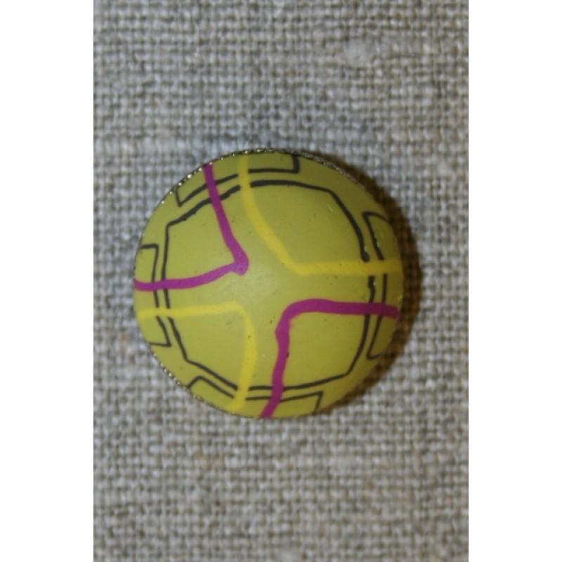 Rund knap m/mønster okker/sort/cerisse